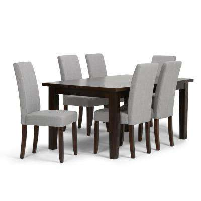 Acadian 7 Piece Dining Set With 6 Upholstered Parson Chairs In Dove Grey Linen Look