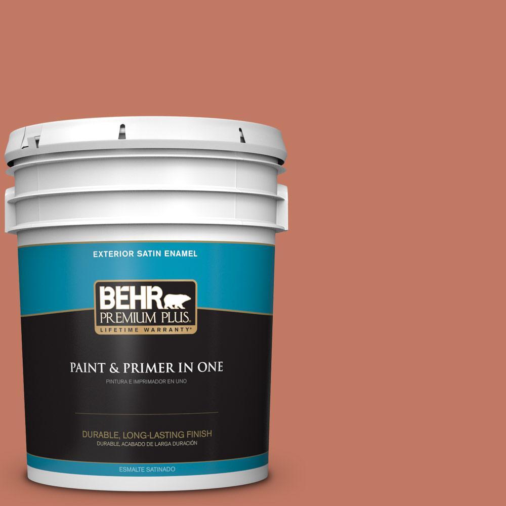 BEHR Premium Plus 5 gal. #MQ1-26 Pinata Satin Enamel Exterior Paint and Primer in One