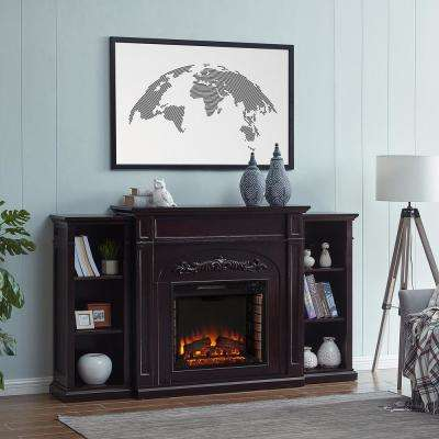 Overton 73 in. Electric Fireplace with Bookcases in Espresso