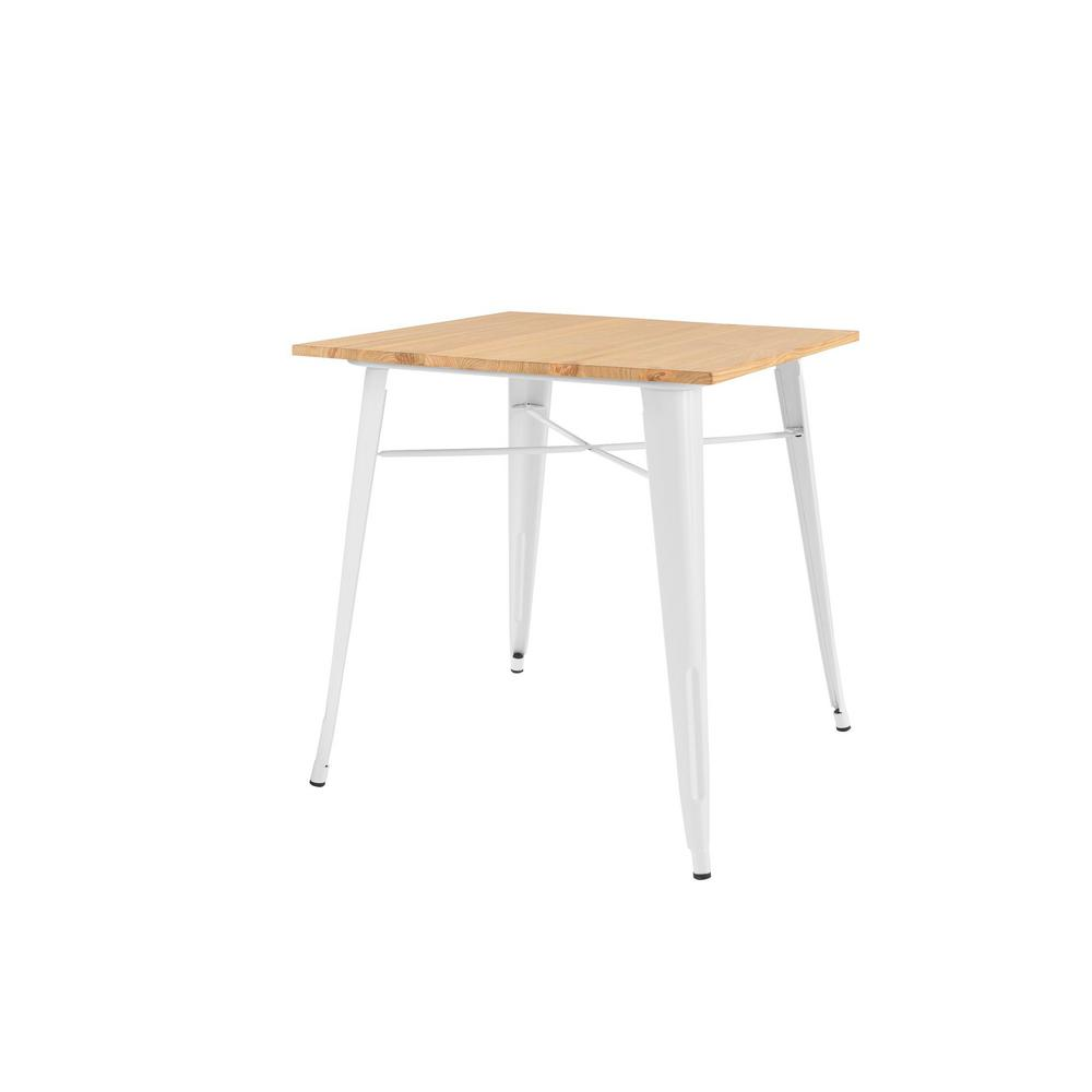 Stylewell Finwick White Metal Square Dining Table for 4 (31.5 in. L x 29.13 in. H)