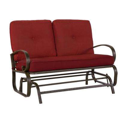Leonard 2 Person Outdoor Loveseat Glider with Red Cushions