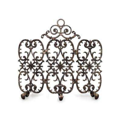 Siena Bronze 3-Panel 42 in. wide Fireplace Screen with Arch
