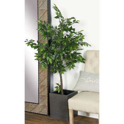 16 in. x 12 in. Dark Gray Concrete Square Planter