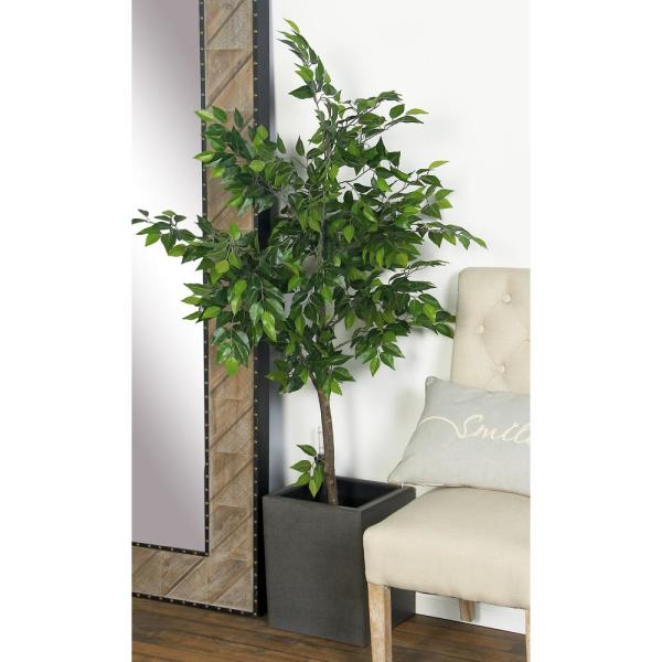 Litton Lane 16 in. x 12 in. Dark Gray Concrete Square Planter