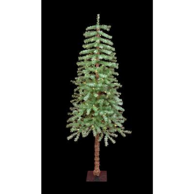 5 ft. Pre-Lit Slight Flocked Metal Stand Artificial Christmas Tree
