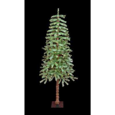5 ft. Pre-Lit Incandescent Slight Flocked Metal Stand Artificial Christmas Tree with 70 Clear Lights