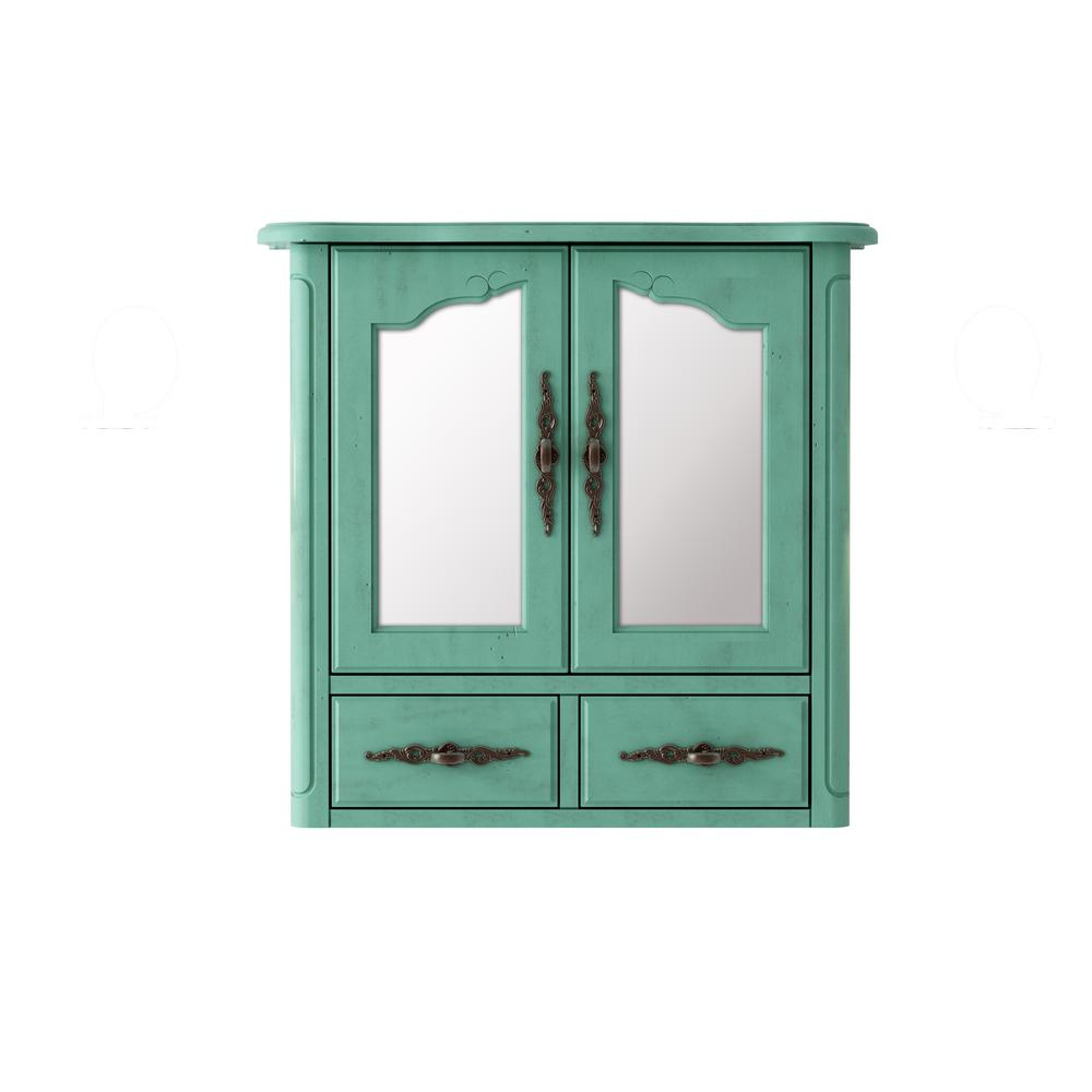 Provence 24 in. x 23 in. Framed Mirror Wall Cabinet in