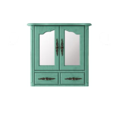 Provence 24 in. x 23 in. Framed Mirror Wall Cabinet in Blue