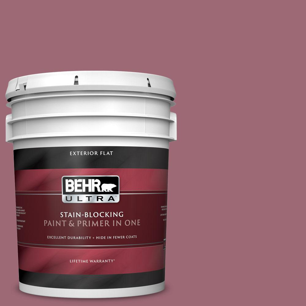 Behr Ultra 5 Gal 100d 5 Berries And Cream Flat Exterior Paint And Primer In One 485305 The Home Depot