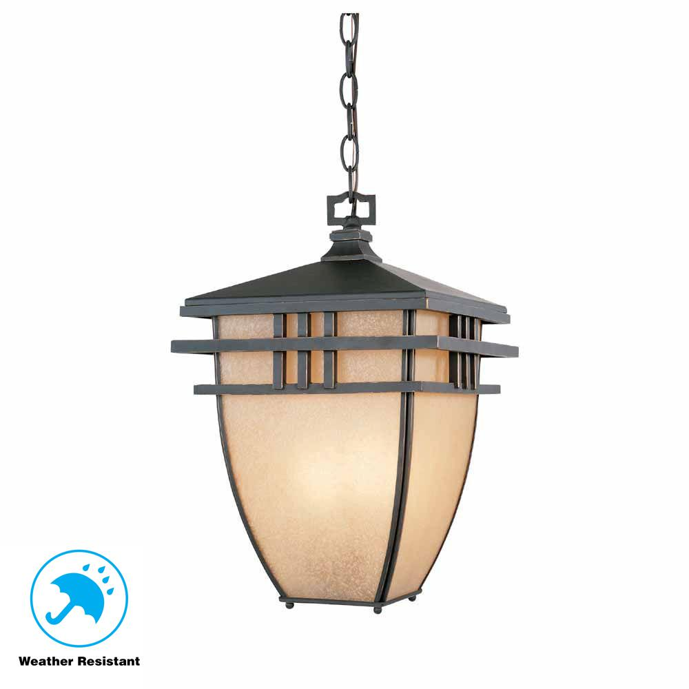 World Imports 10.75 in. Aged Bronze Patina Outdoor Hanging Light with Ochere Glass