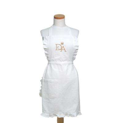 Downton House 27 in. x 32 in. White and Gold Cotton Adjustable Apron