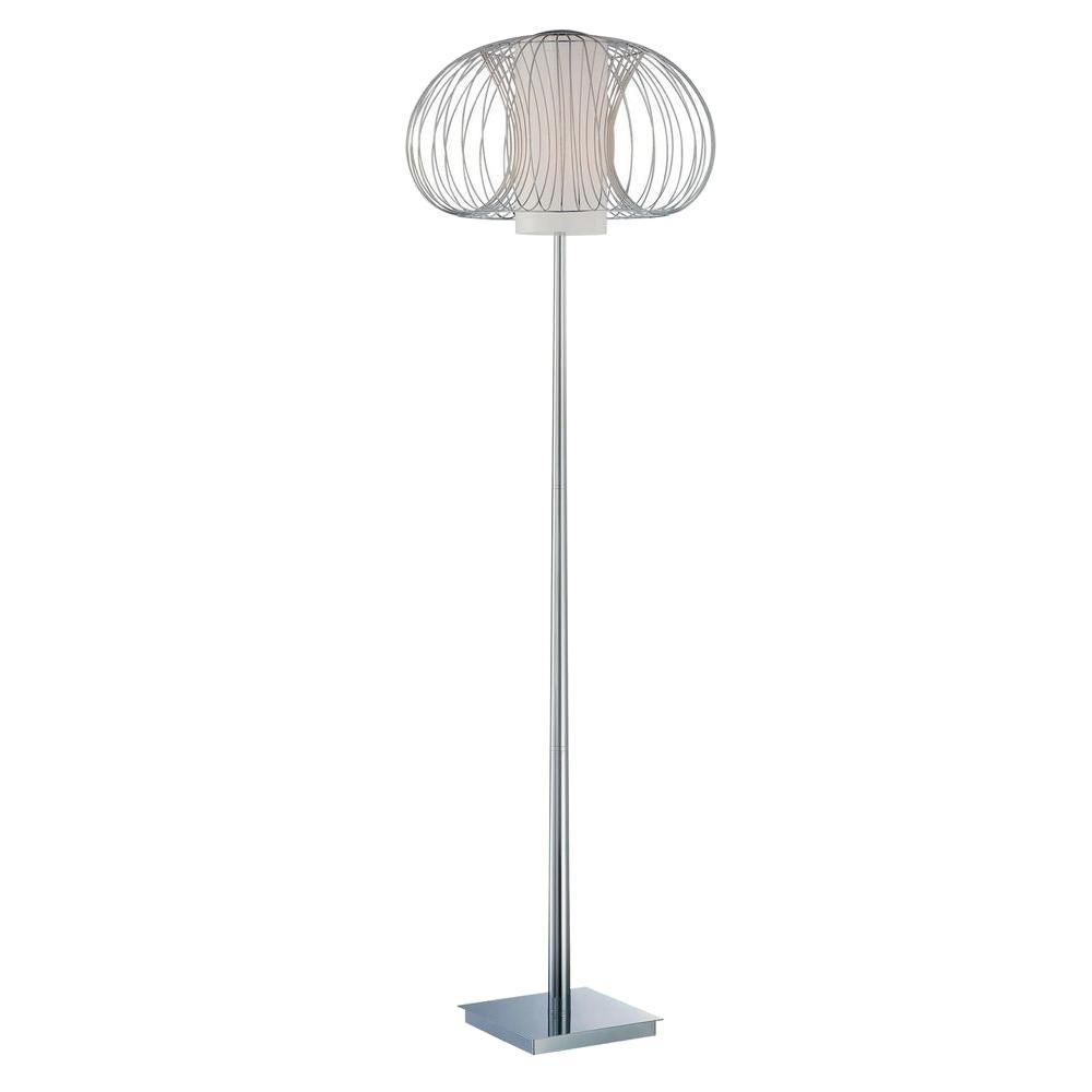 Illumine 63.5 in. Chrome Floor Lamp Frost Glass