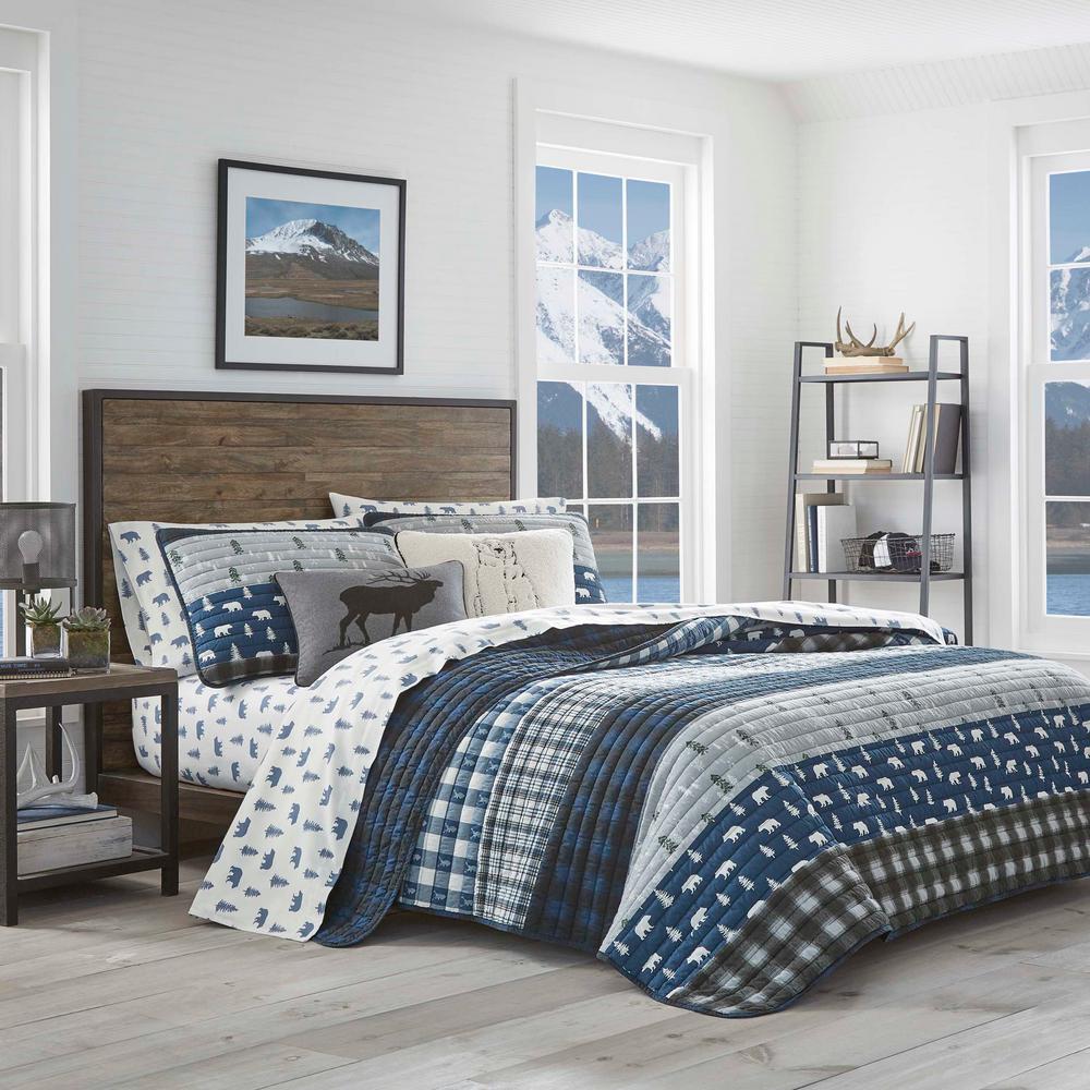 3-Piece Blue Creek Plaid Cotton Full/Queen Quilt Set