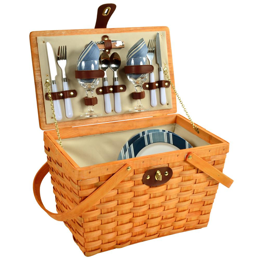 Frisco Traditional American Style Picnic Basket with Service for 2 in