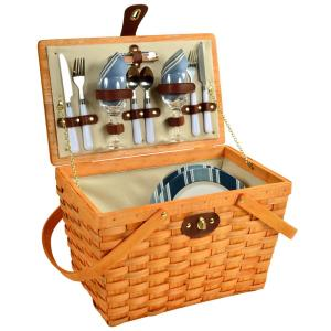 Frisco Traditional American Style Picnic Basket with Service for 2 in Blue Stripe by