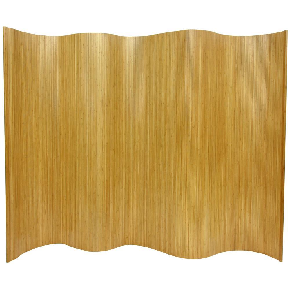 Oriental 6 ft. Natural Bamboo Wave 1-Panel Room Divider