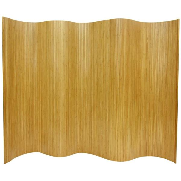 6 ft. Natural Bamboo Wave 1-Panel Room Divider