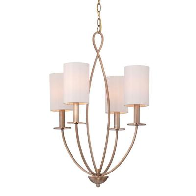 Castana Collection 4-Light Gold Chandelier with Fabric Shade