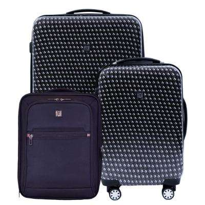 28 in. x 20 in. x 16 in. Metal Chain Swirl 3-Piece Black Suitcases Luggage Set