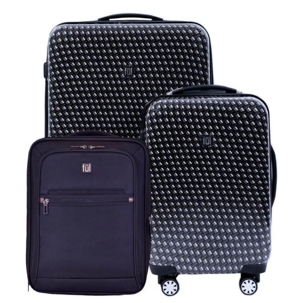 1501f39ca97 28 in. x 20 in. x 16 in. Metal Chain Swirl 3-Piece Black Suitcases Luggage  Set