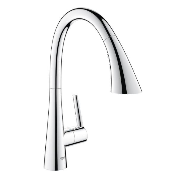 Grohe Minta Single Handle Pull Out Sprayer Kitchen Faucet In Starlight Chrome 30300000 The Home Depot