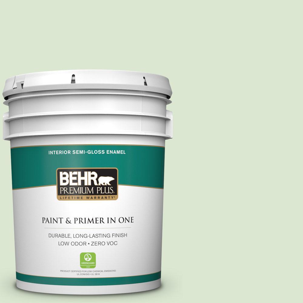 BEHR Premium Plus 5 gal. #T12-18 Minty Frosting Semi-Gloss Enamel Zero VOC Interior Paint and Primer in One