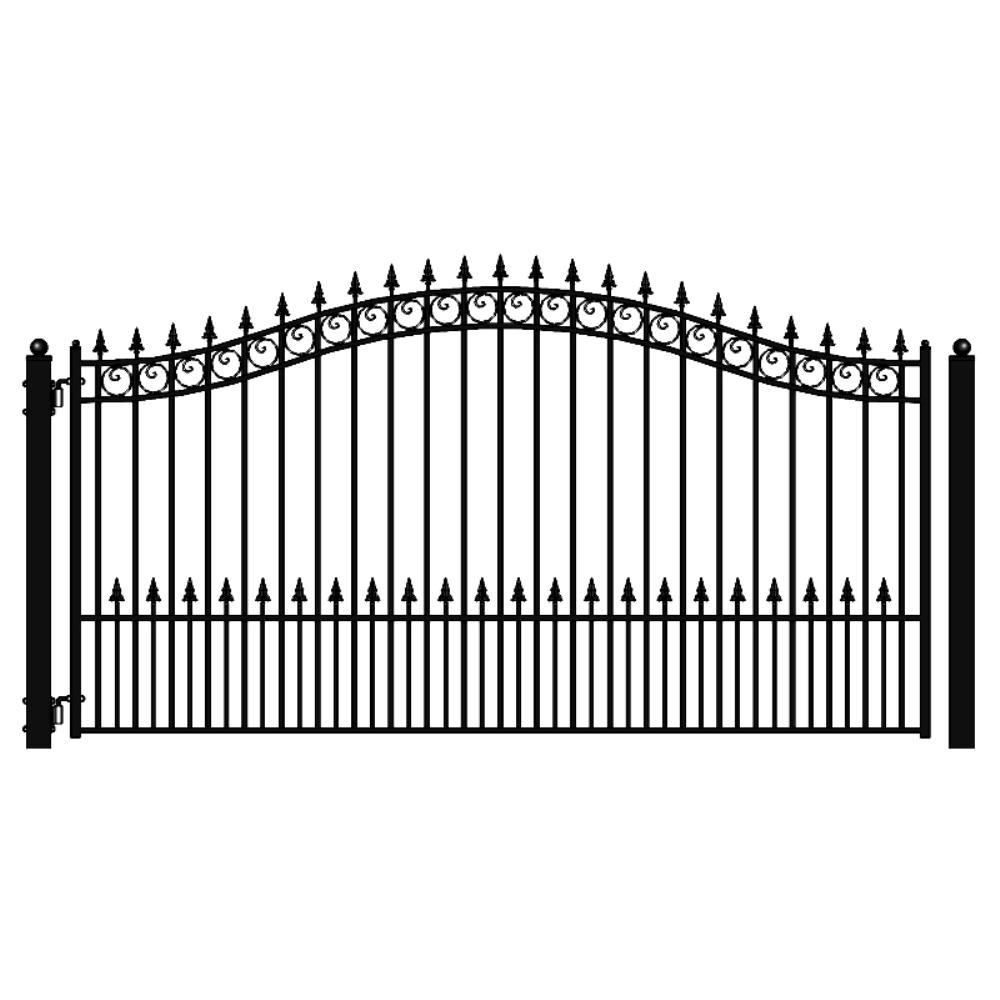 Prague Style 16 ft. x 6 ft. Black Steel Single Swing Driveway Fence Gate