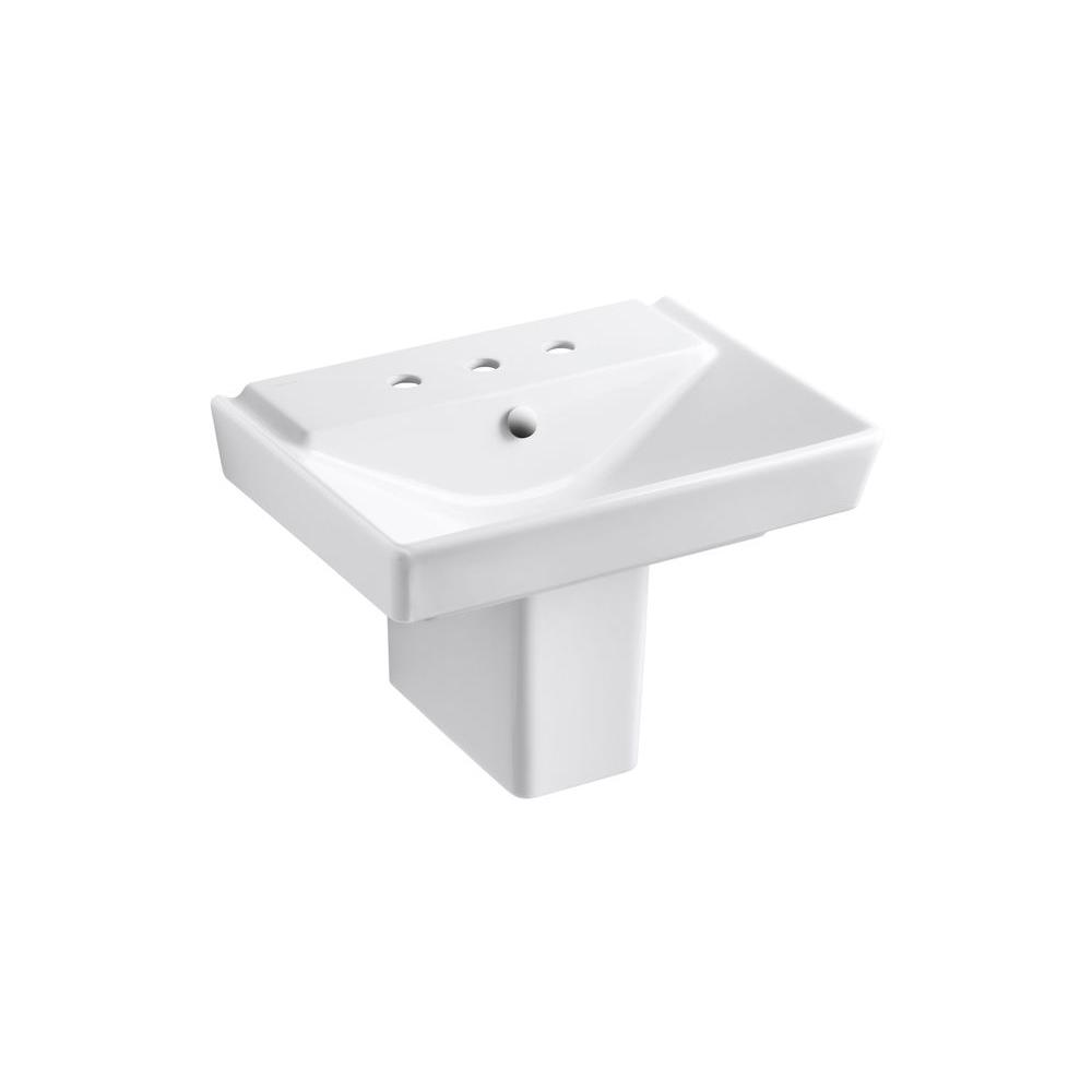 Reve Semi Ceramic Pedestal Combo Bathroom Sink In White With Overflow Drain