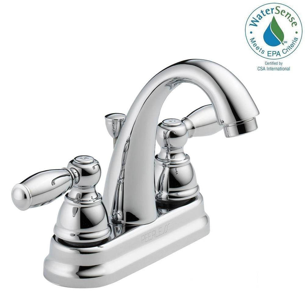 Peerless 4 in. Centerset 2-Handle Bathroom Faucet in Chrome ...