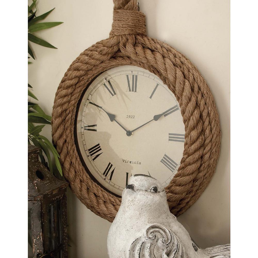 23 in. x 17 in. Rustic Hemp Rope Round Wall Clock