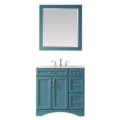Naples 36 in. Bath Vanity in Green with Carrara Marble Vanity Top in White with White Basin and Mirror