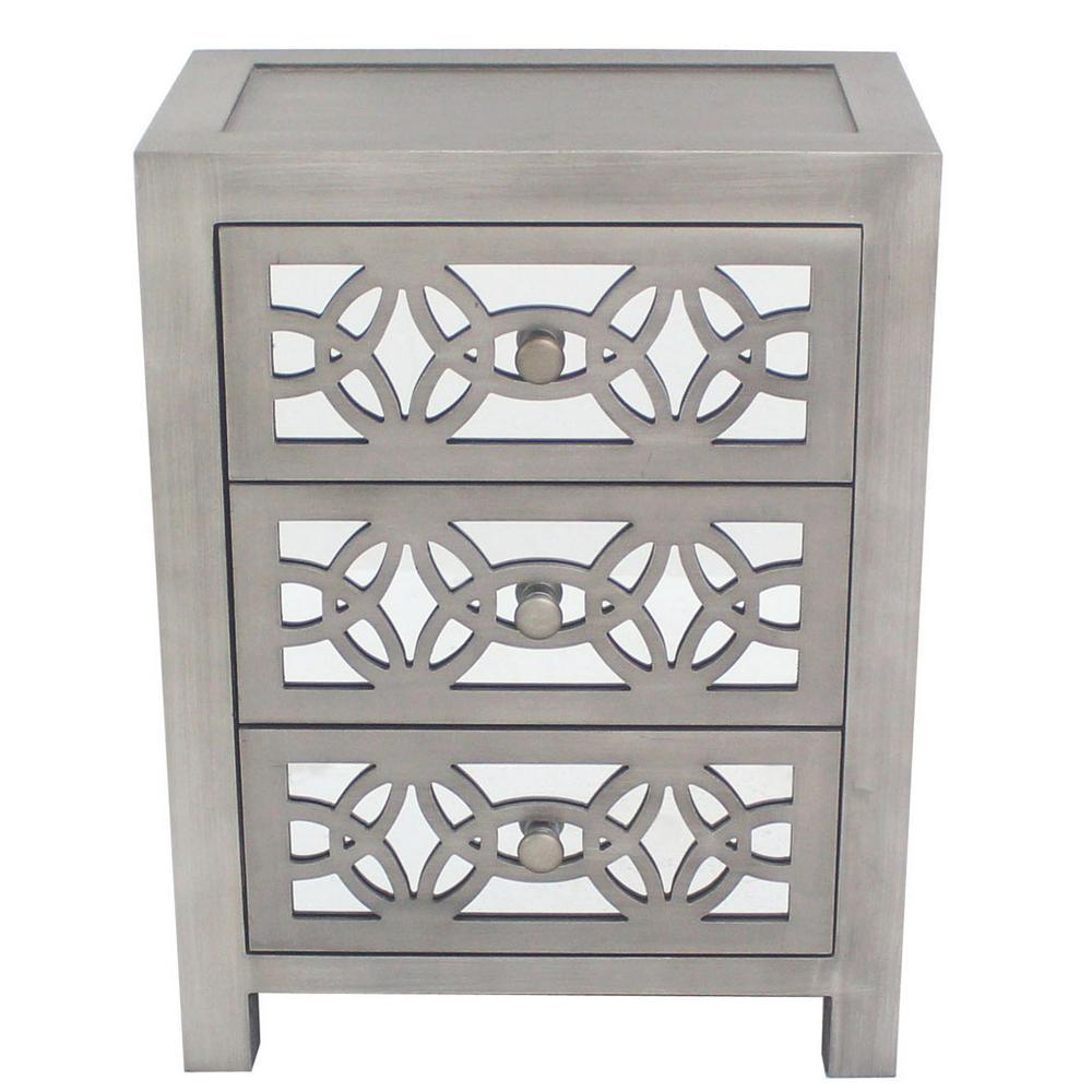 River Of Goods Mini Glam Slam 3-Drawer Silver Cabinet