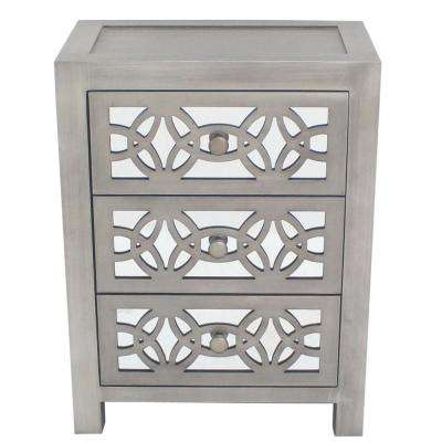 Mini Glam Slam 3-Drawer Silver Cabinet