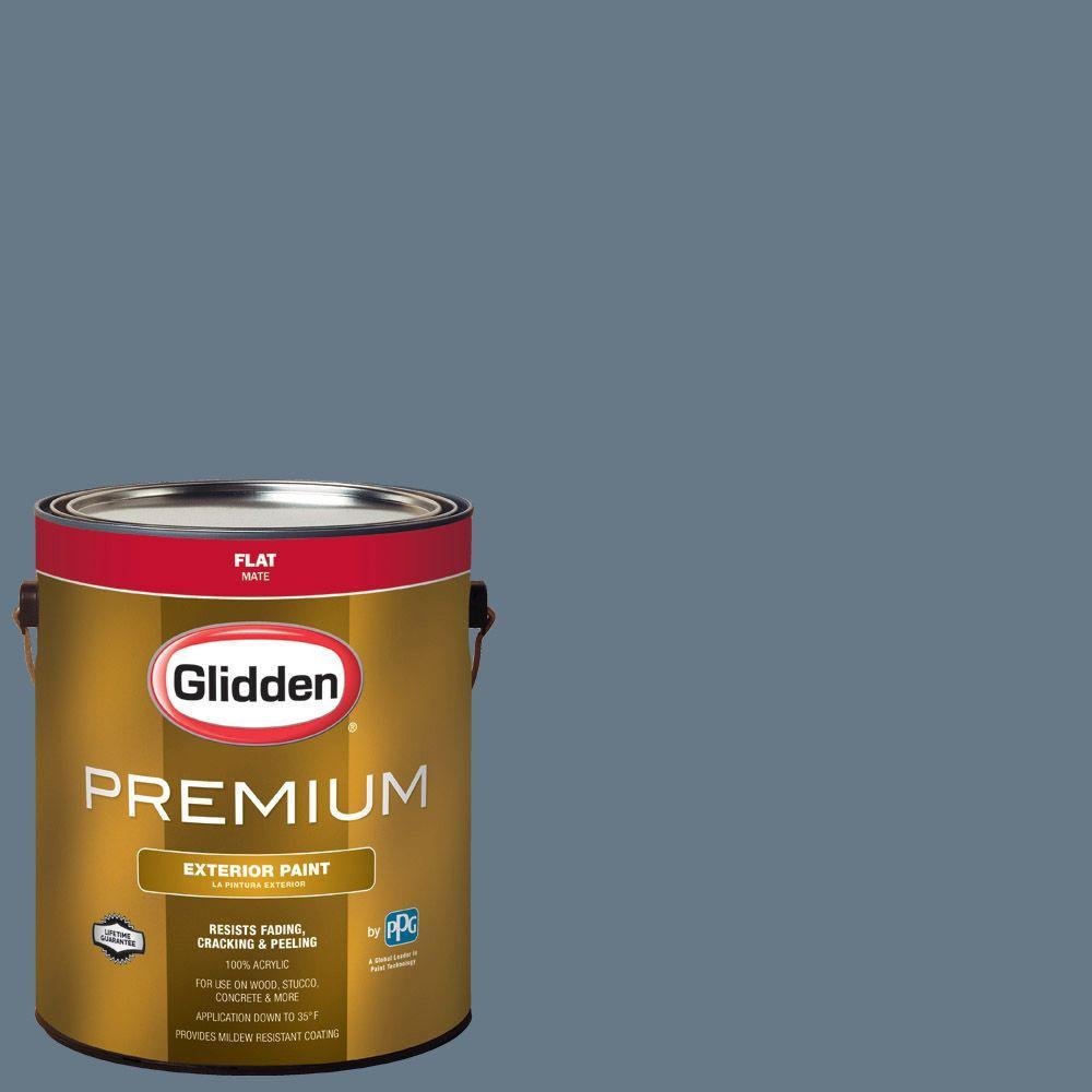 1-gal. #HDGV13U Mountain Slate Blue Flat Latex Exterior Paint