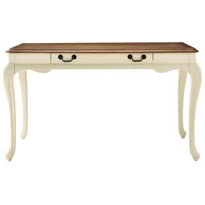 Provence Ivory Writing Desk with Ash Brown Top