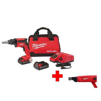 M18 FUEL 18-Volt Lithium-Ion Brushless Cordless Drywall Screw Gun Compact Kit with Collated Screw Gun Attachment