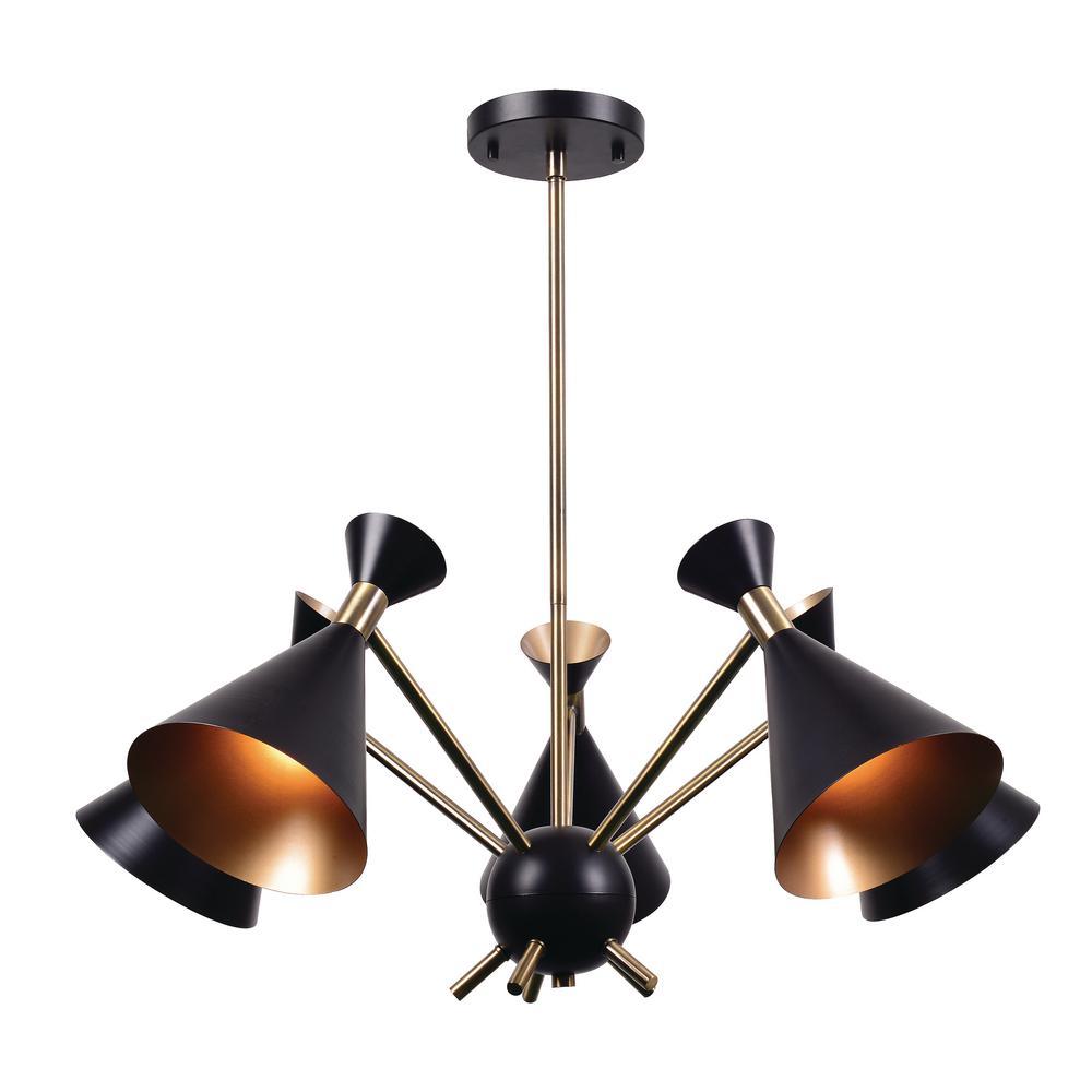 Kenroy home arne 5 light black chandelier with black shade 93795bl kenroy home arne 5 light black chandelier with black shade aloadofball Images