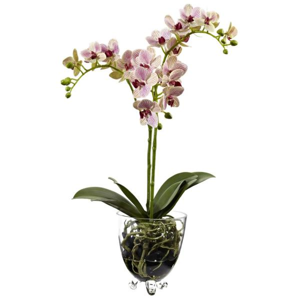 Nearly Natural 22 in. Raspberry Orchid Elegance Arrangement 4830
