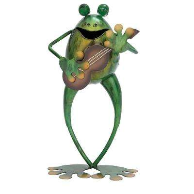 14 in. H x 8 in. L x 4 in. W Metal Frog with Guitar
