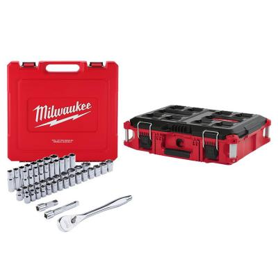 1/2 in. Drive SAE/Metric Ratchet and Socket Mechanics Tool Set (47-Piece) with PACKOUT 22 in. Tool Box
