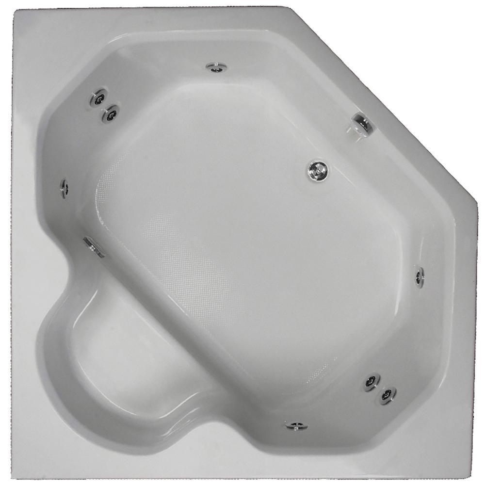 60 in. Acrylic Corner Drop-in Whirlpool Bathtub in Sterling Silver