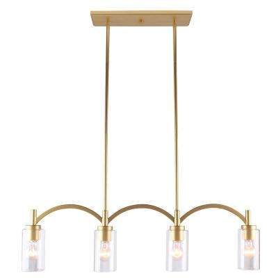 Devora 60-Watt 4-Light Antique Gold Linear Pendant with Clear Glass