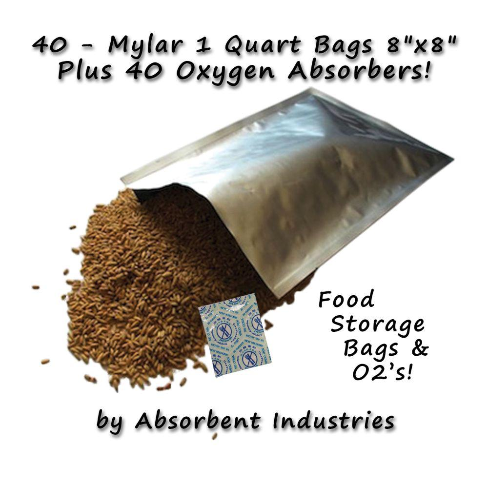 Dry-Packs 8 in. x 8 in. Mylar Bags and Oxygen Absorbers (40 per Pack), Silver This listing contains Mylar Bags and Oxygen Absorbers. The perfect combo for your long term food preservation needs. These Mylar Bags combined with Oxygen absorbers, when stored in a rigid container, have proven to be the ideal way to store dehydrated goods for long-term storage. Mylar bags protect your food investment from the effects of oxygen, moisture contamination, and light penetration. They are excellent for the long-term storage of dehydrated foods because they have a FDA approved sealant layer and can be heat sealed with a standard clothing iron on the wool setting, or a hair straightener. Simply add the dehydrated food to the mylar bag, place appropriate number of oxygen absorbers on top, and push out as much residual air as possible before sealing the bag. Color: Silver.