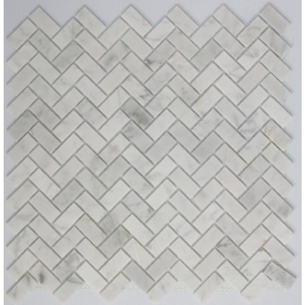 LTL Home Products 11 in. x 12 in. x 8 mm Tile Esque Carrara Marble ...