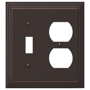 Tiered 2 Gang 1-Toggle and 1-Duplex Metal Wall Plate - Aged Bronze