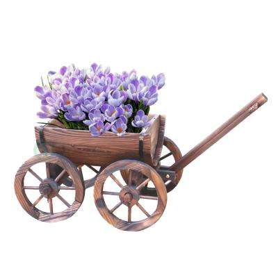 30.5 in. W x 15.5 in. D x 17 in. H Wood Half Barrel Wagon Planter
