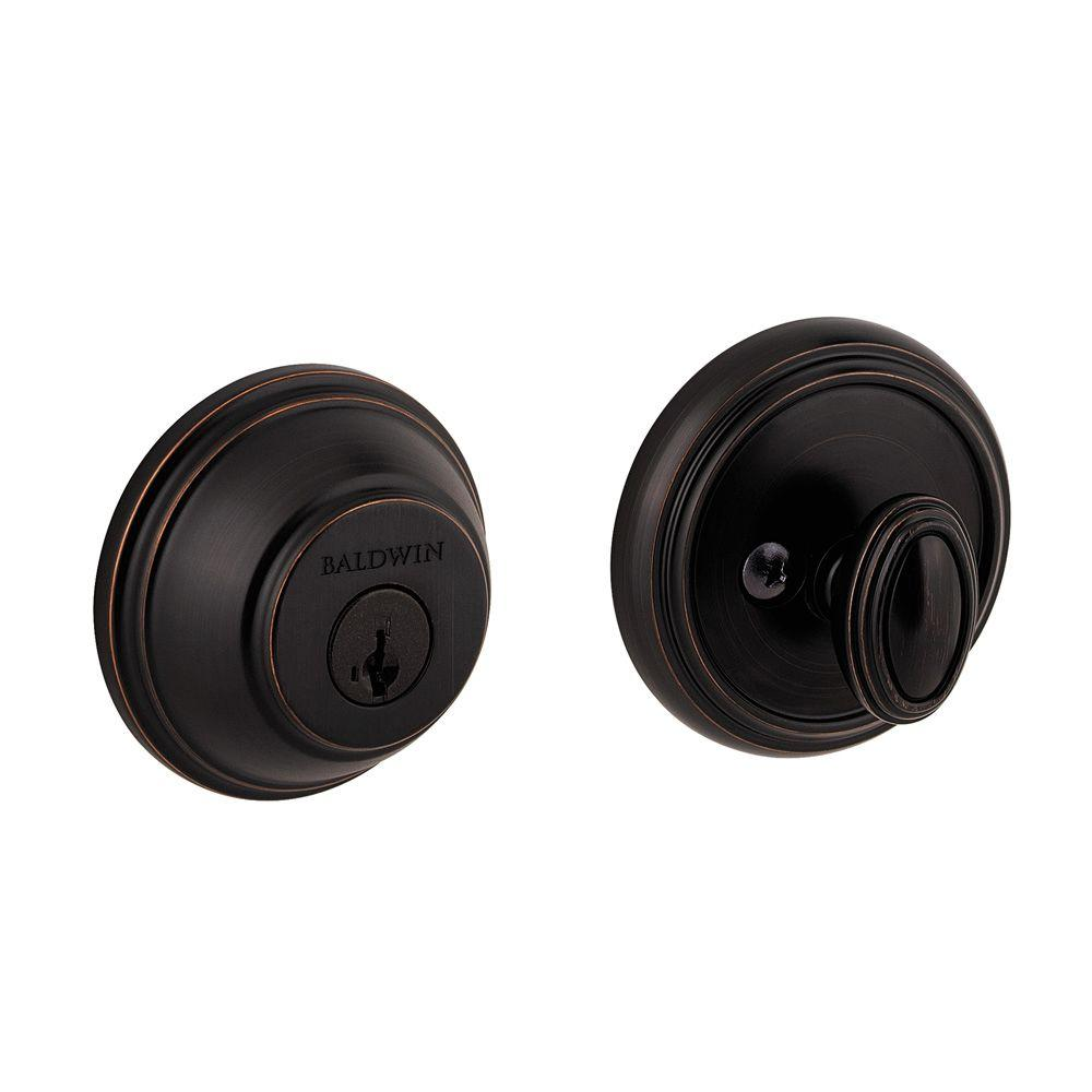 Prestige Single Cylinder Venetian Bronze Round Deadbolt featuring SmartKey