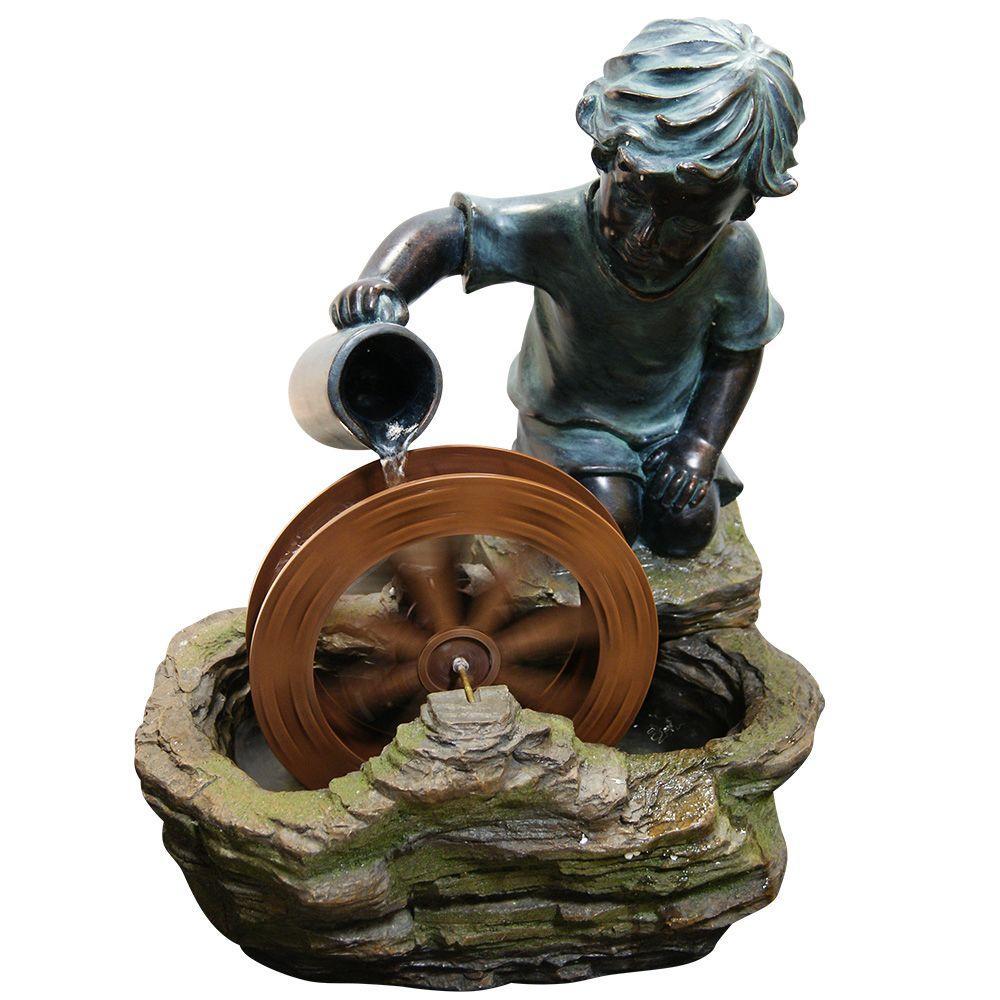 Alpine 20 inch Boy with Wheel Fountain by Alpine