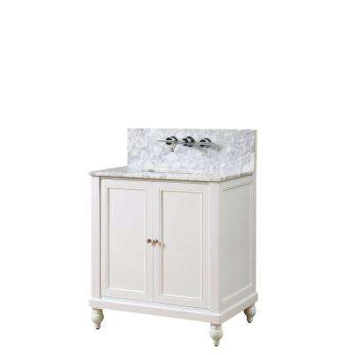 Classic Premium 32 in. Vanity in Pearl White with Marble Vanity Top in White Carrara with White Basin