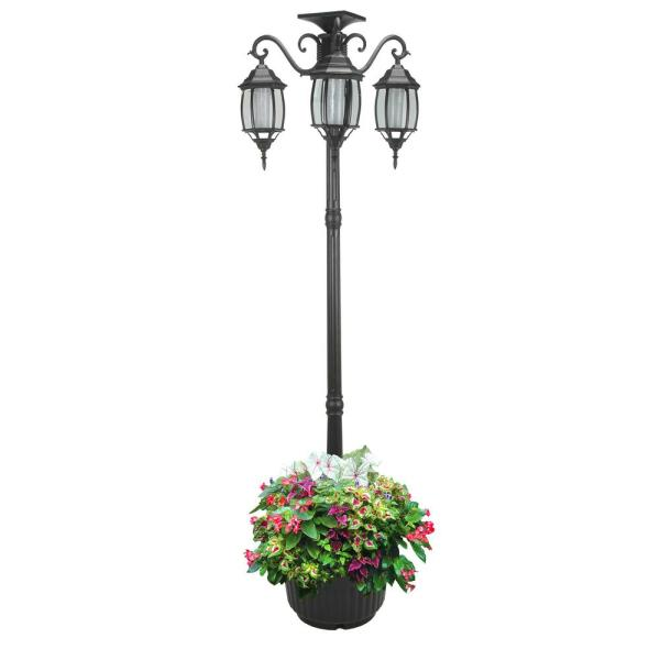 Madison 3-Light Black Integrated LED Solar Lamp Post and Planter